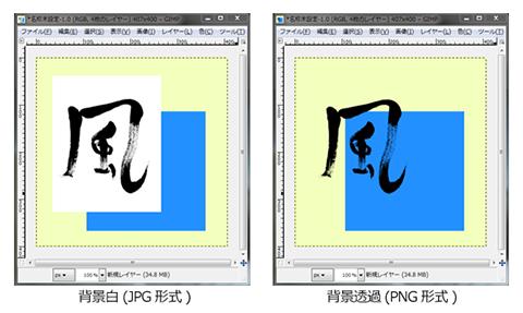 画像処理ソフトでの画像の重ね合わせ