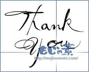 筆文字素材:thank you [14107]